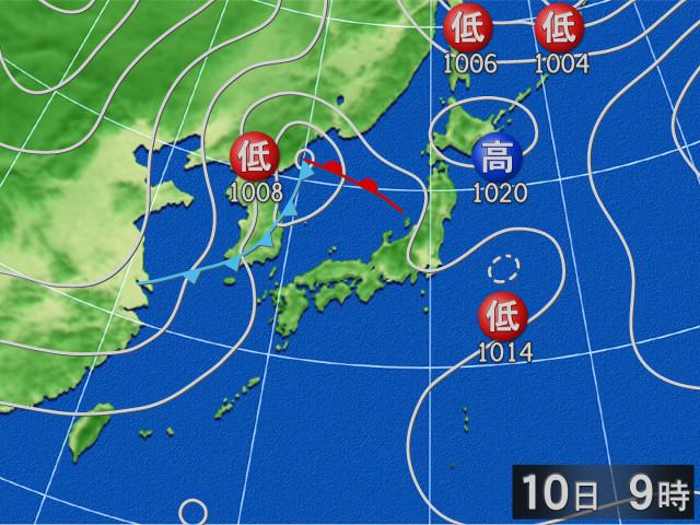 過去の天気図 2018年10月10日9時 - goo天気