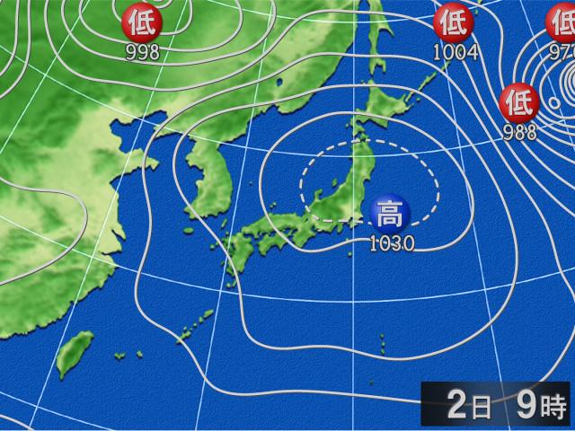 過去の天気図 2018年12月02日09時 - goo天気