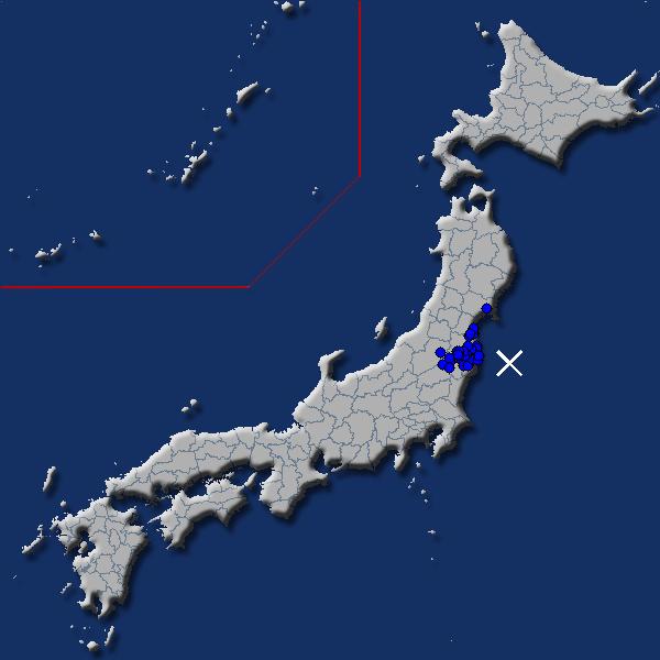 [震源地] 福島県沖 [最大震度] 震度1 (2017年10月22日 01時25分頃発生) - goo天気