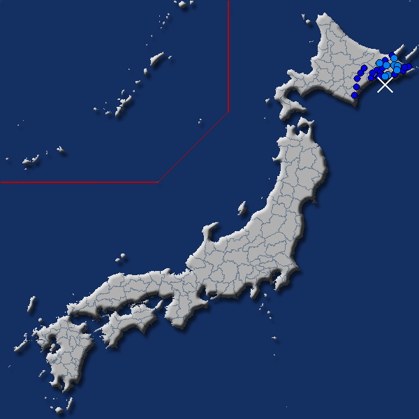 [震源地] 釧路沖 [最大震度] 震度2 (2018年4月20日 19時45分頃発生) - goo天気