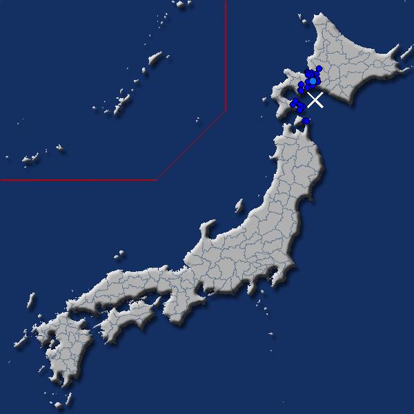 [震源地] 苫小牧沖 [最大震度] 震度2 (2020年3月19日 01時32分頃発生) - goo天気